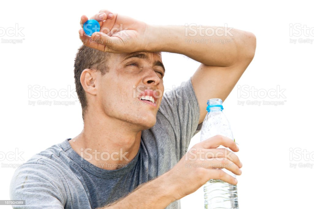 Thirsty Man Drinking stock photo