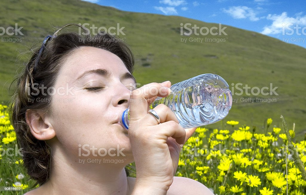 Thirsty woman. stock photo