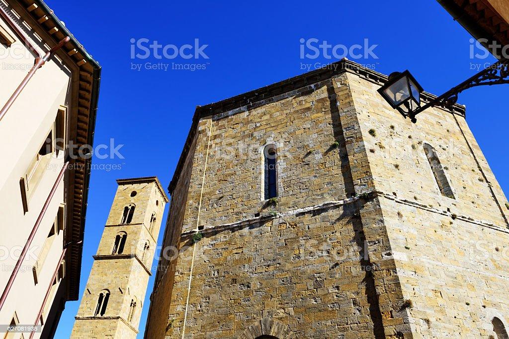 Thirteenth century buildings in Volterra, Italy stock photo