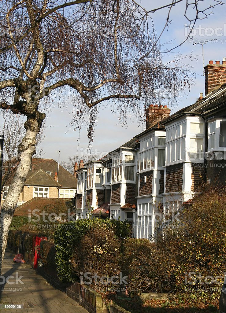Thirties Terraced London Street royalty-free stock photo