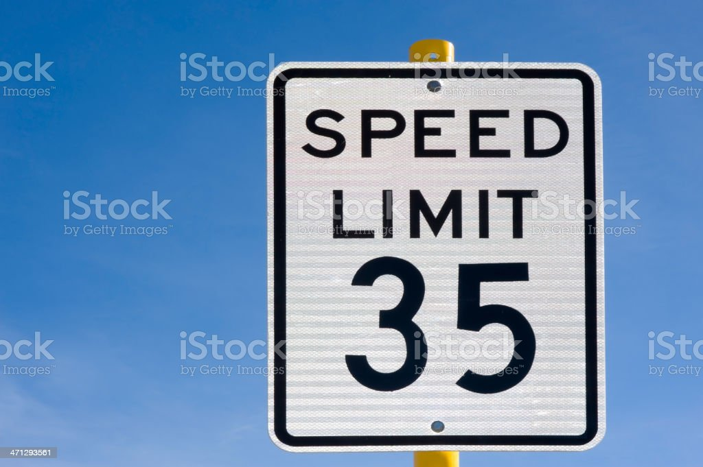 Thirty Five 35 Miles Per Hour Speed Limit Sign stock photo