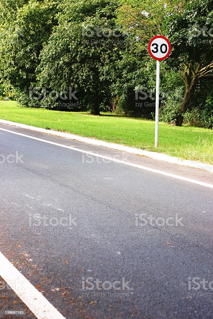 Thirty Miles per hour sign stock photo
