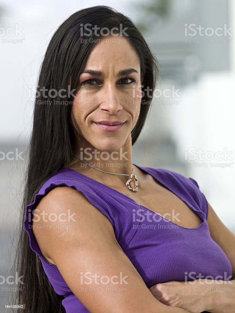Thirty something slim woman stock photo