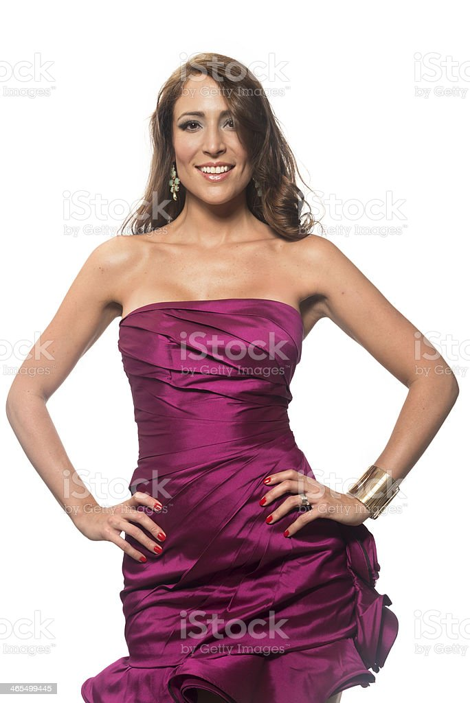 Thirty something spanish woman at a fashion show royalty-free stock photo