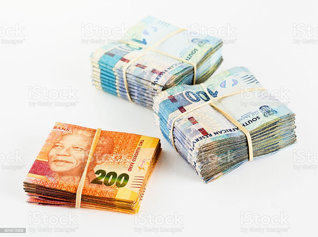 Thirty Thousand Rand in folded South African banknotes stock photo