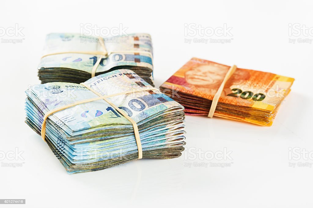 Thirty Thousand South African Rand in neatly folded banknotes stock photo