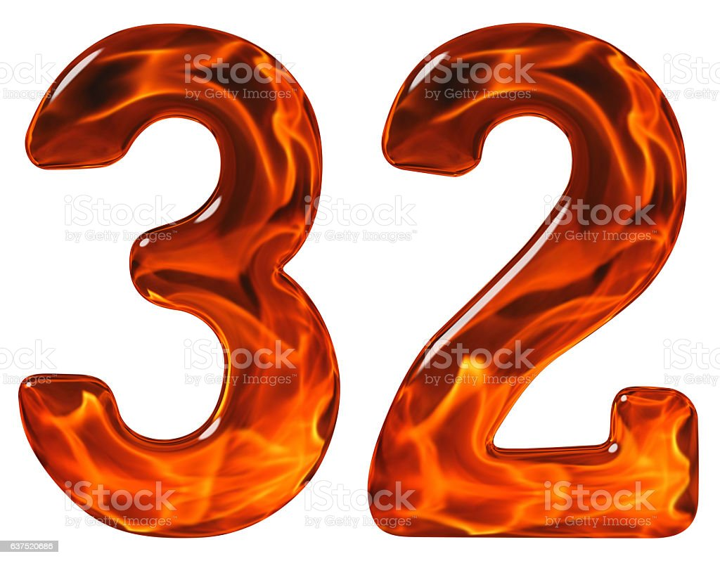 32, thirty two, numeral, imitation glass and a blazing fire stock photo