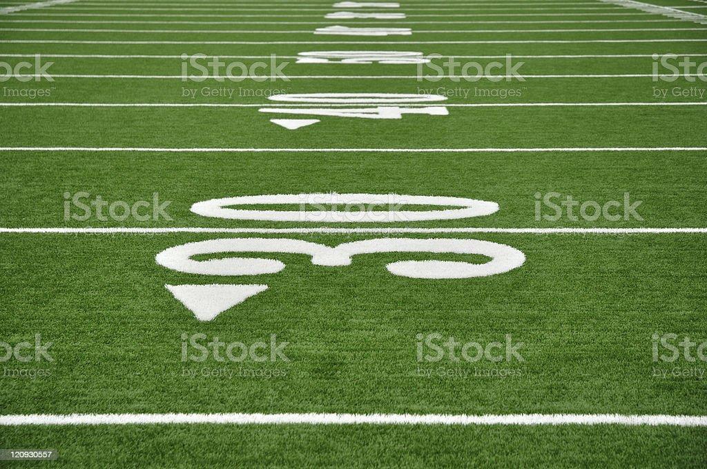 Thirty Yard Line on American Football Field stock photo