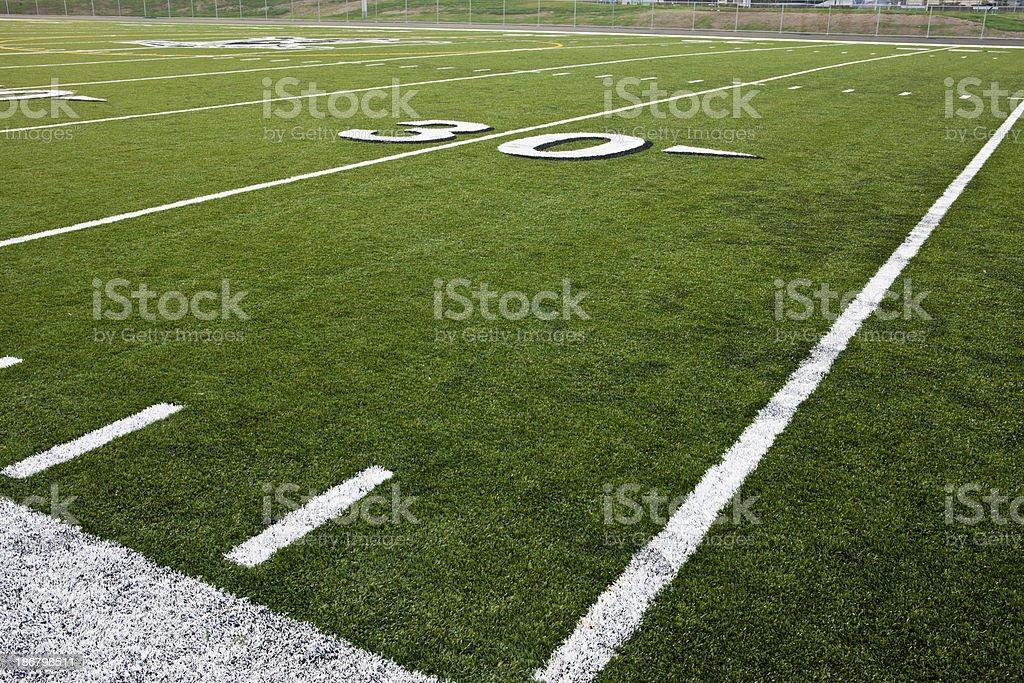 Thirty Yard Line on Football Field royalty-free stock photo