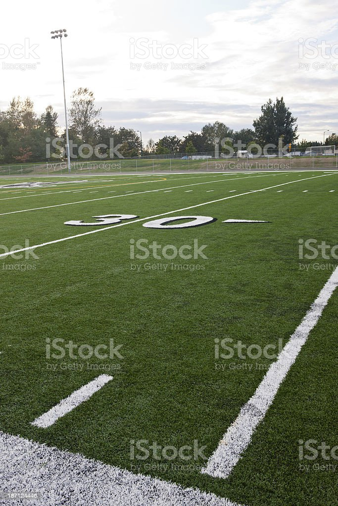 Thirty Yard Line on Football Field stock photo