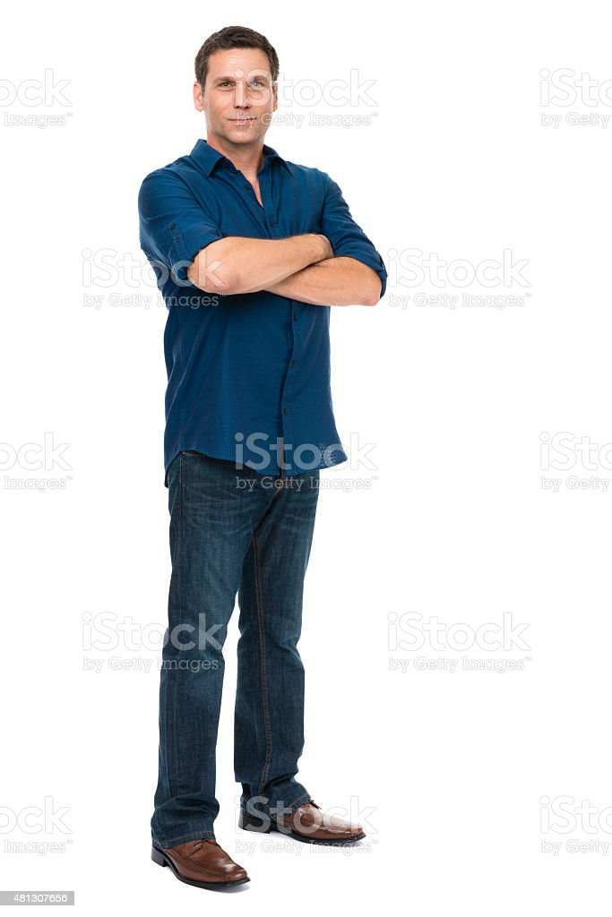 Thirtyish Casual Man on White stock photo