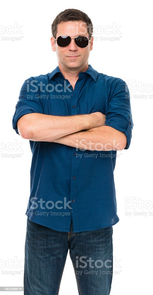 Thirtyish Casual Man on White stock photo