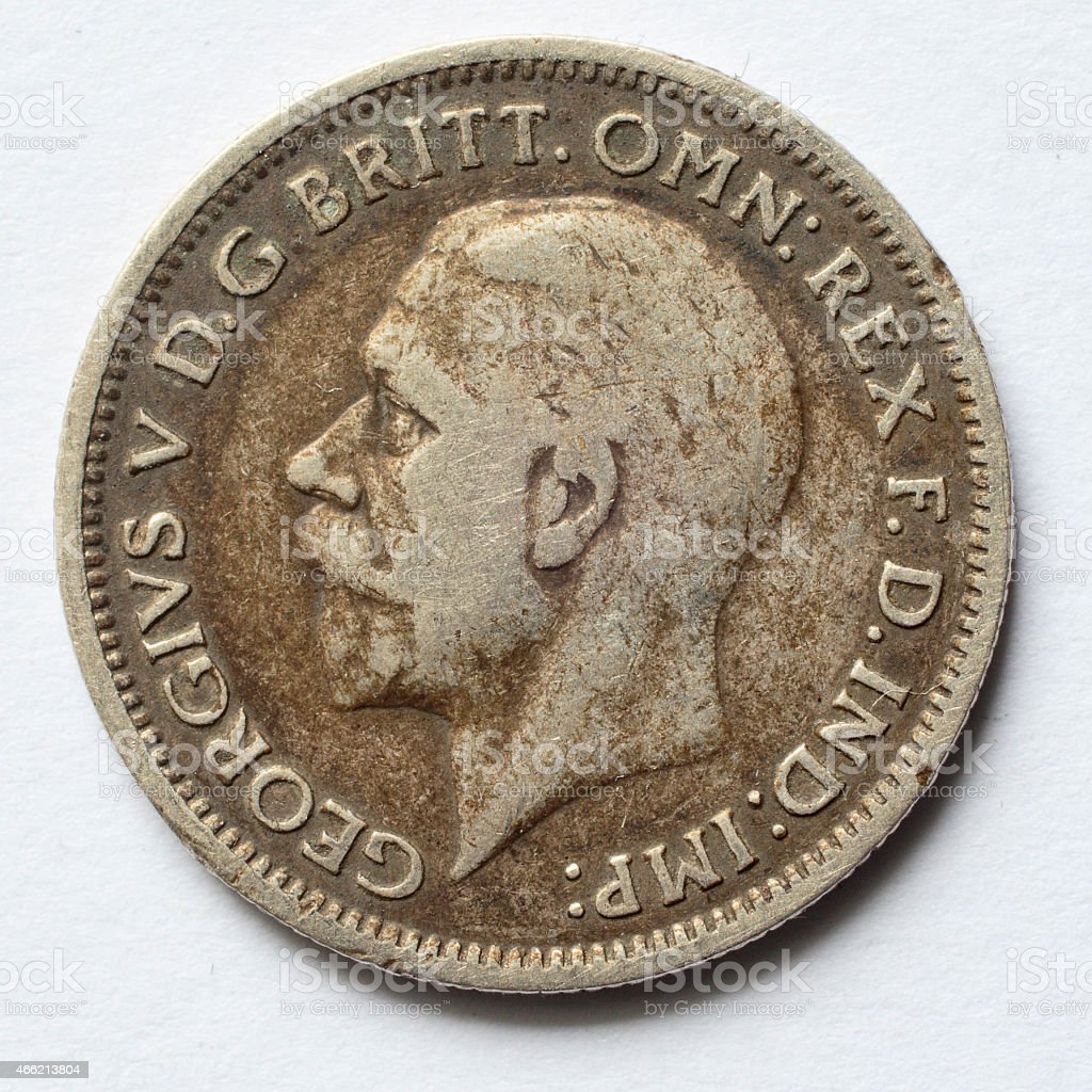 Worn used 1936 sixpence King George V obverse stock photo