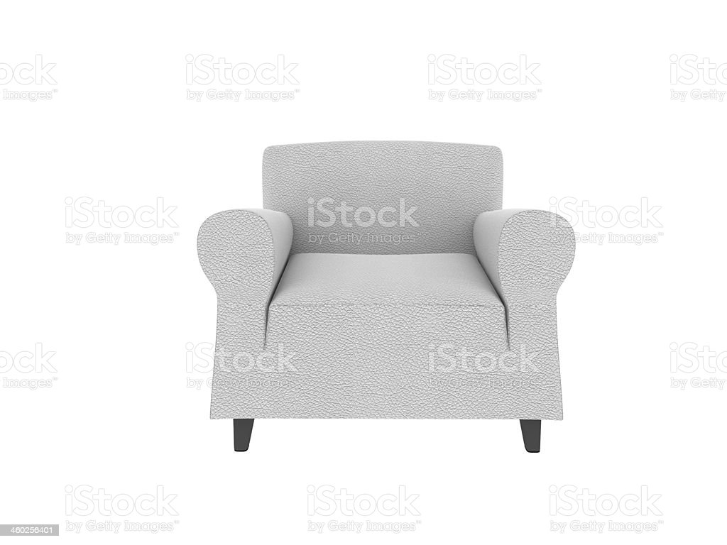 This 3 d image white leather armchair stock photo