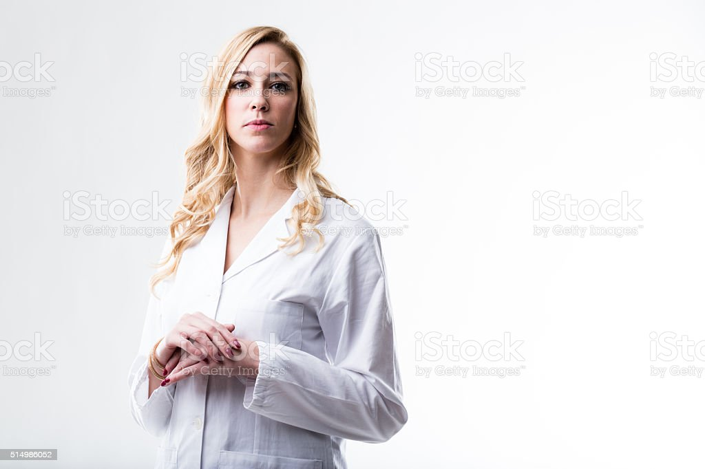this beautiful woman is a scientist or doctor stock photo