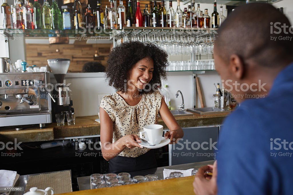 This cafe is the friendliest in town stock photo