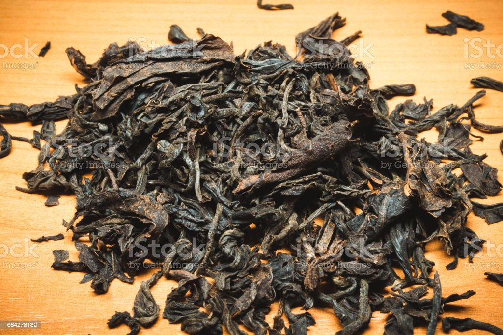 This Ceylon black tea in dried form on the table stock photo