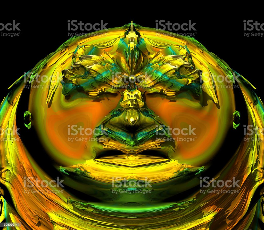Golden eagle on gold ring fractal image stock photo
