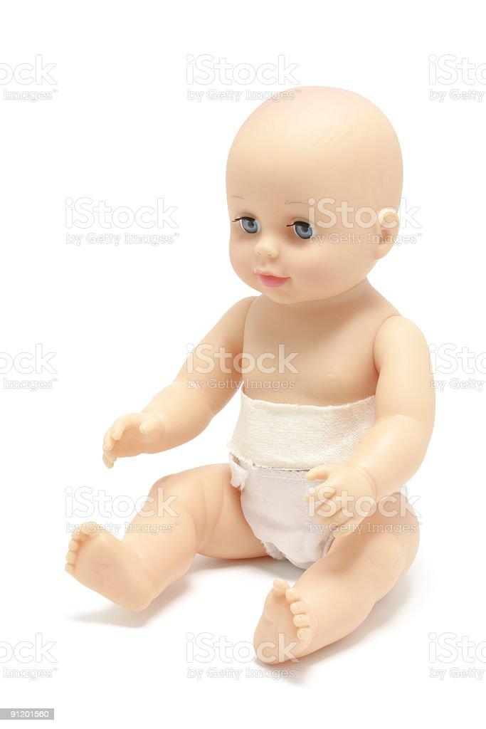 This cute baby doll just needs a little girl for some love stock photo
