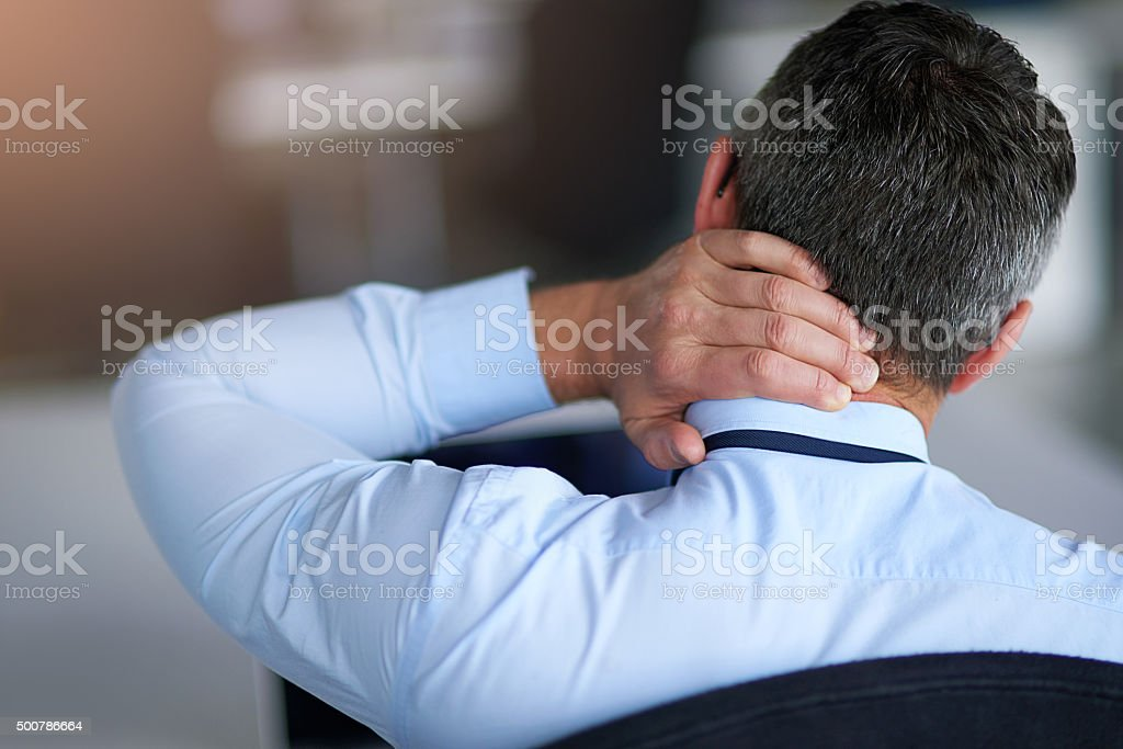 This day has been a pain in the neck stock photo