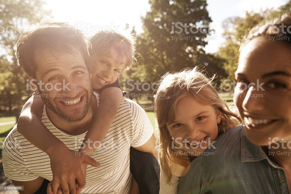 This family knows how to have fun! stock photo