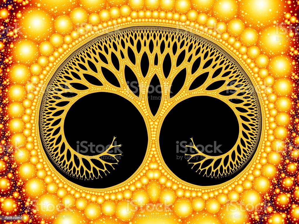 Cosmic evolutionary tree of life symbol golden fractal image stock photo