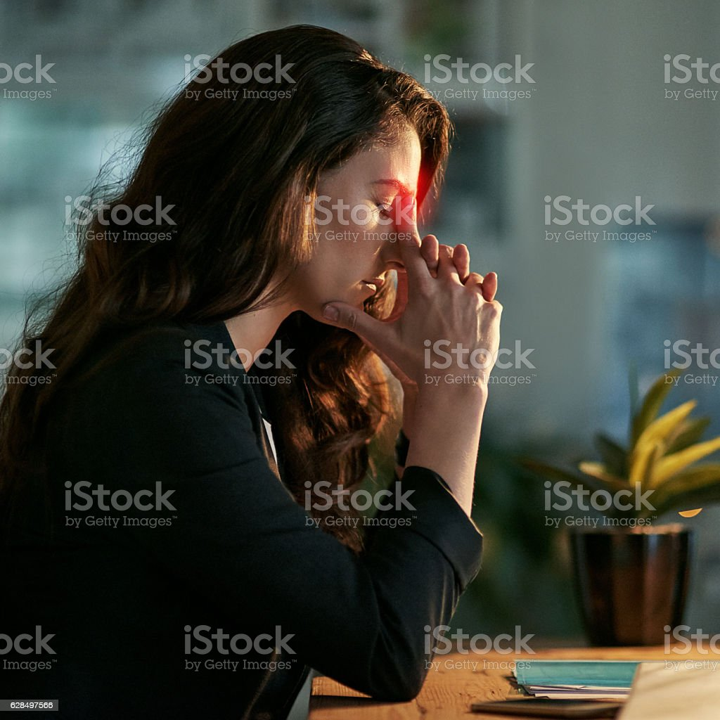 This headache is pushing me back from work stock photo