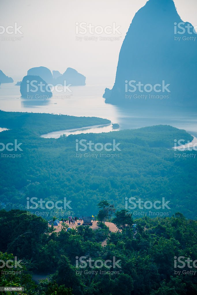 This high-angle viewpoint. Samet Nangshe,Phangnga stock photo