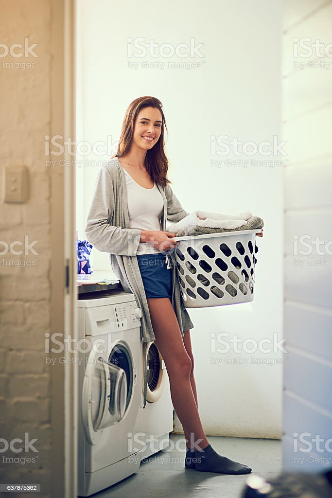 This home is full of love and laundry stock photo