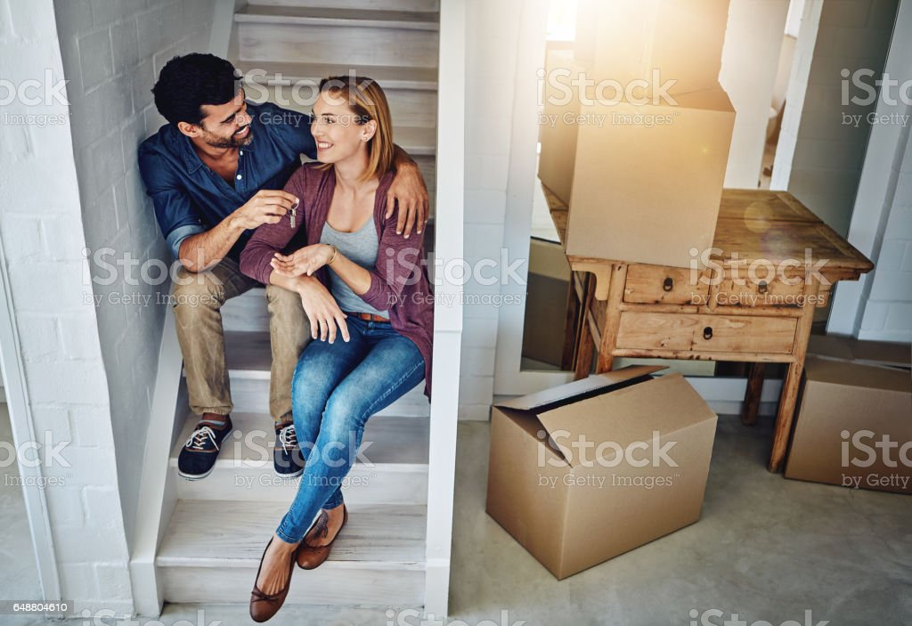 This home sweet home is finally ours stock photo