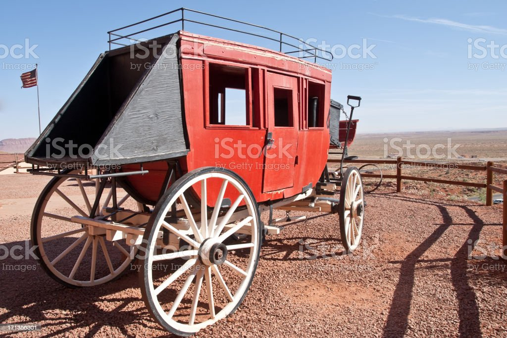 Old West Horse Drawn Stagecoach stock photo