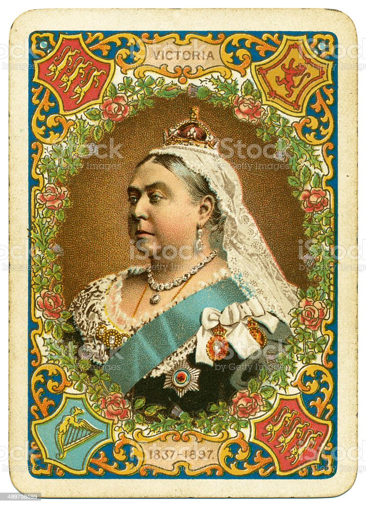 Queen Victoria Diamond Jubilee playing card reverse 1897 stock photo