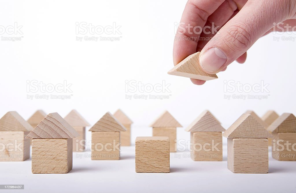 This is a conceptual idea for building houses. stock photo