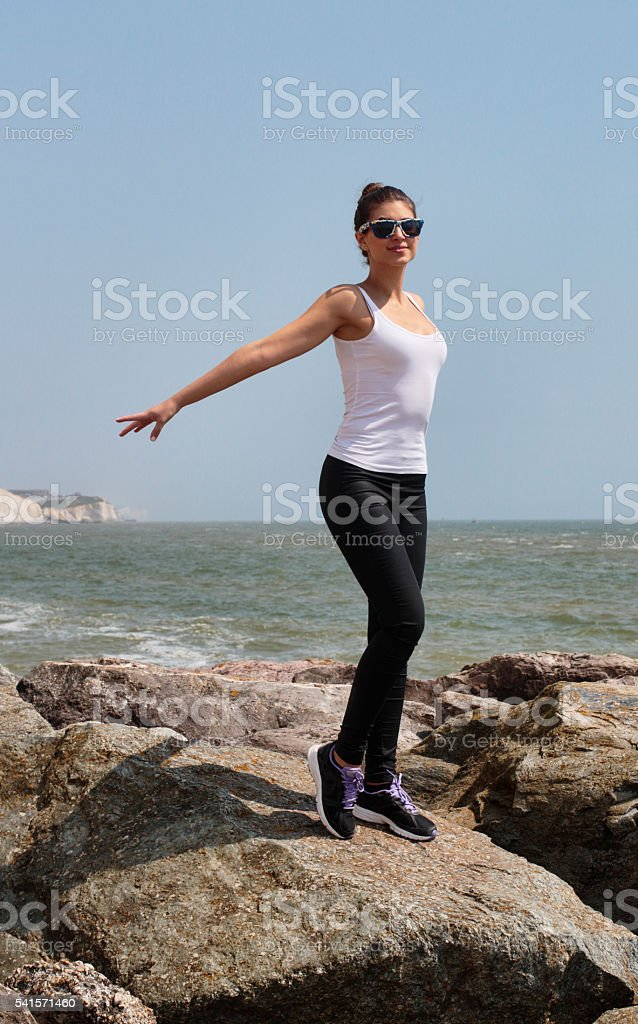 Spirit of Ecstasy on the beach Russian outdoor girl stock photo