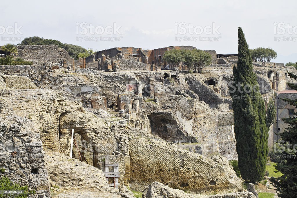 Ruins of Pompeii in Italy stock photo