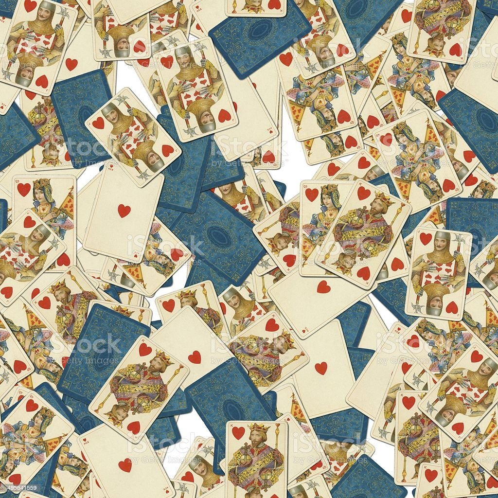 Dondorf Shakespeare hearts playing cards seamless tile pattern stock photo