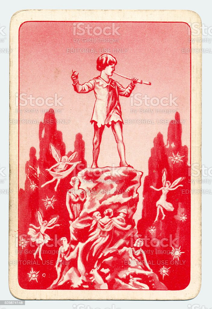 Peter Pan and Wendy Pepys playing card red back 1930s stock photo
