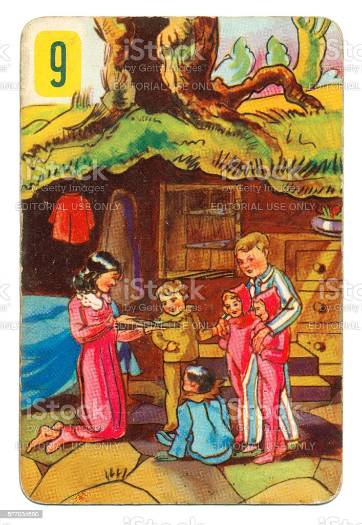 Peter Pan and Wendy Pepys playing card 1930s stock photo