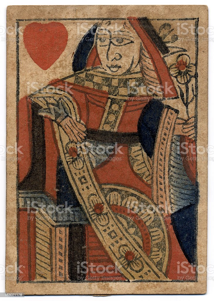 Queen of Hearts 18th century antique playing card stock photo