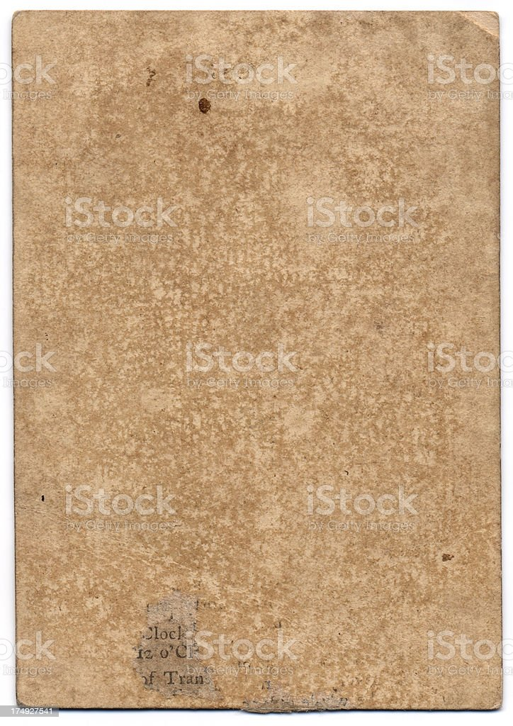 Grunge reverse 18th century antique playing card no pattern back stock photo