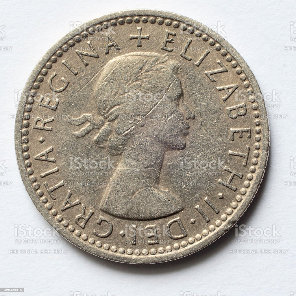 Silver sixpence 1957 Queen Elizabeth obverse stock photo