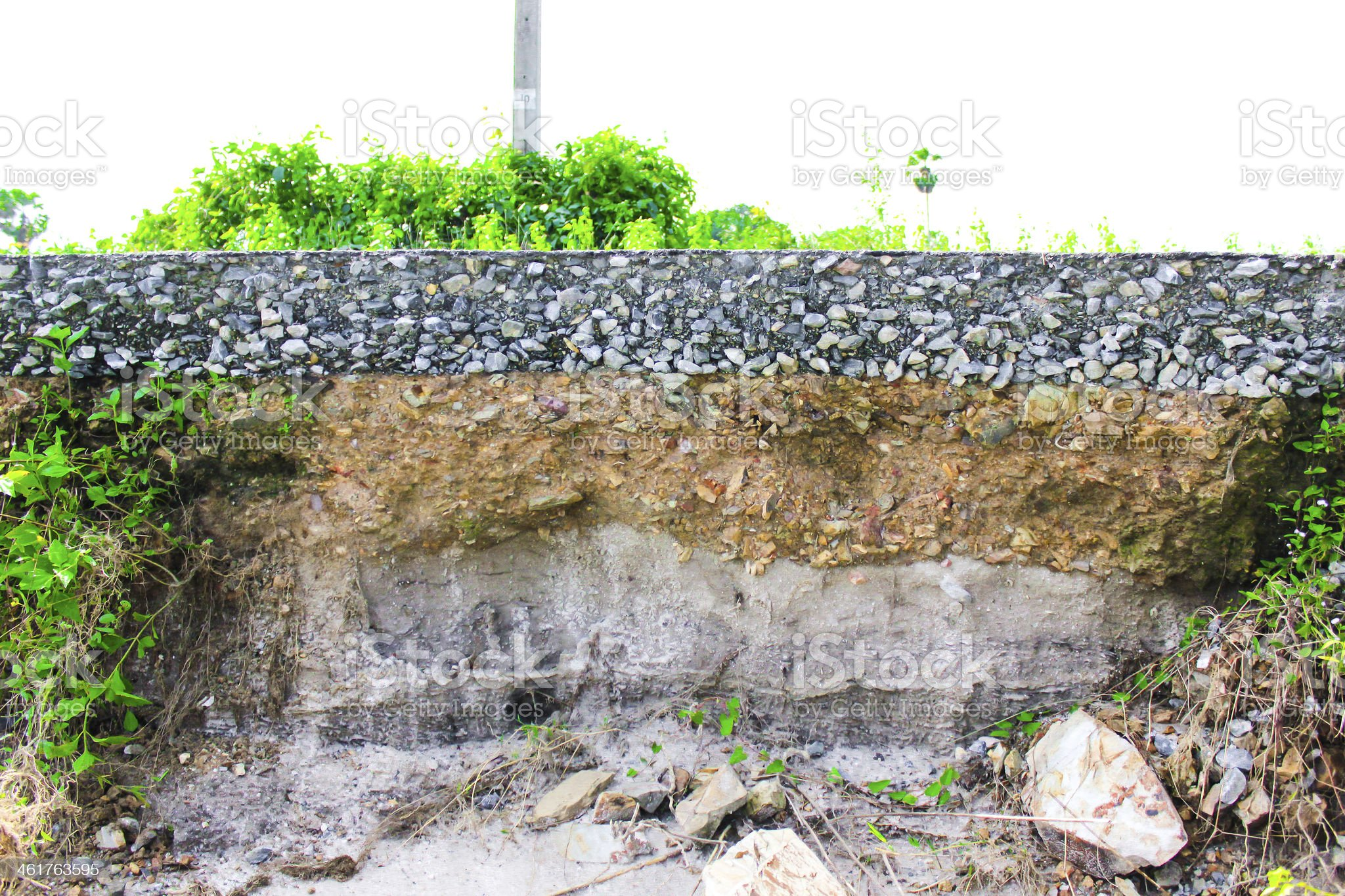 this is damage the asphalt road cut of soil layer royalty-free stock photo