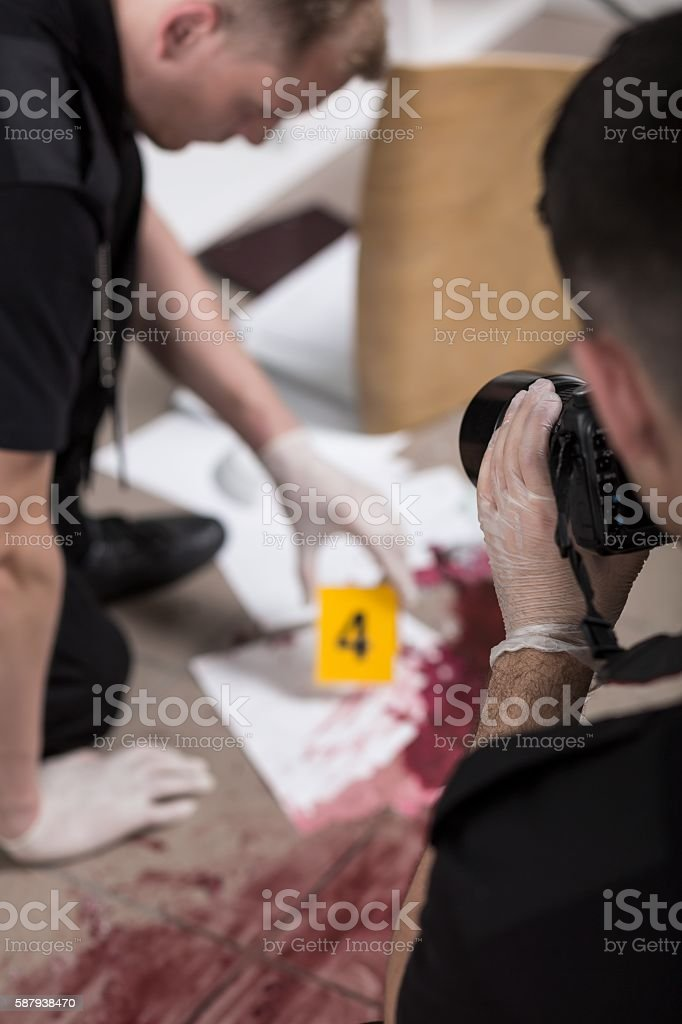 This is how crime scene investigation works stock photo