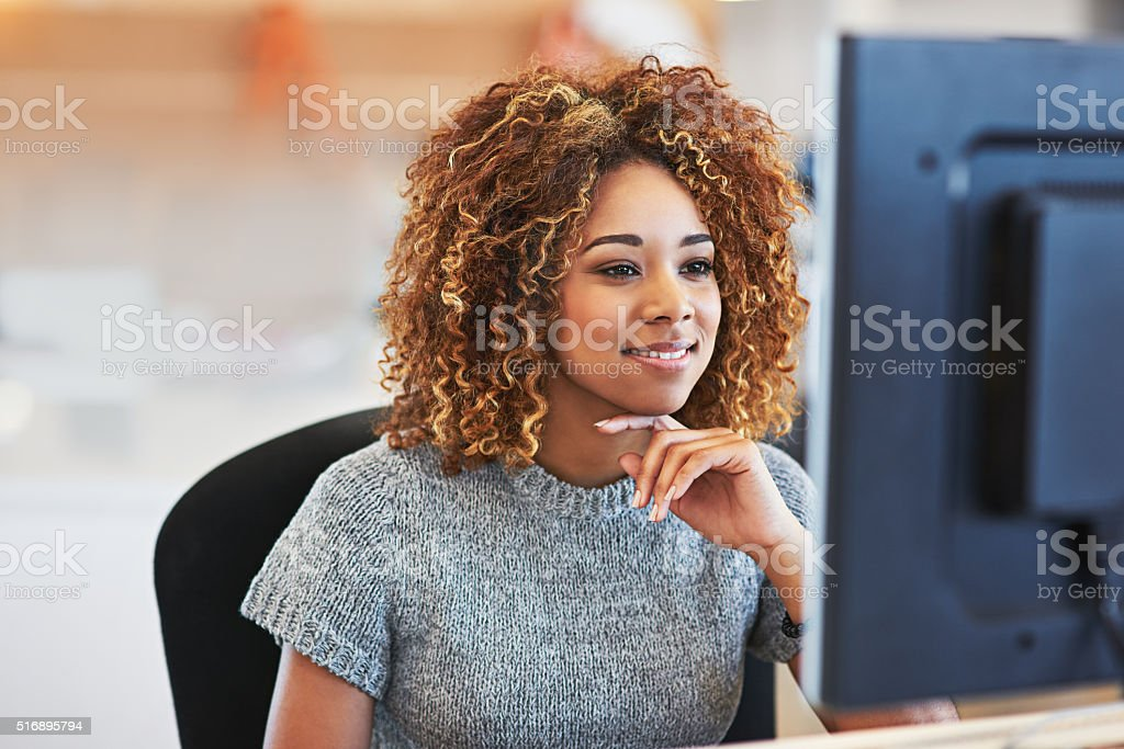 This is how she makes success happen stock photo