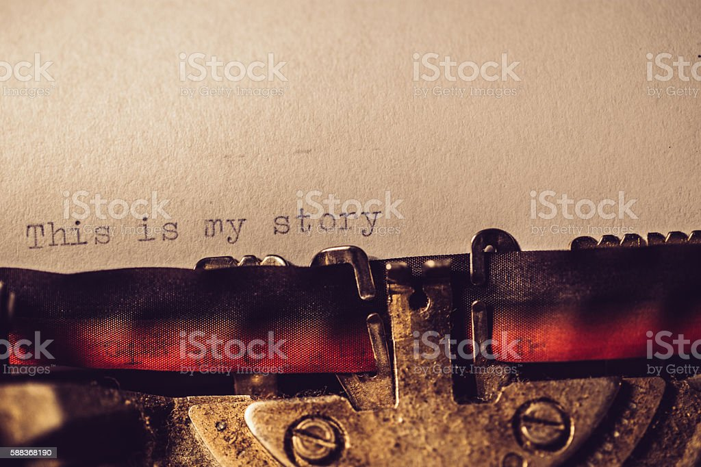 'This is my story' typed using an old typewriter stock photo