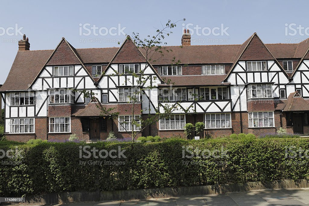 Mock tudor housing estate design 1930 royalty-free stock photo