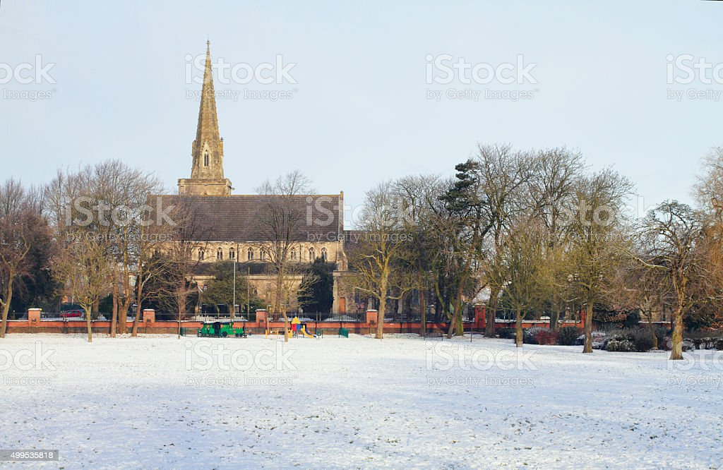 Winter snowscene St. Marks Church Swindon stock photo