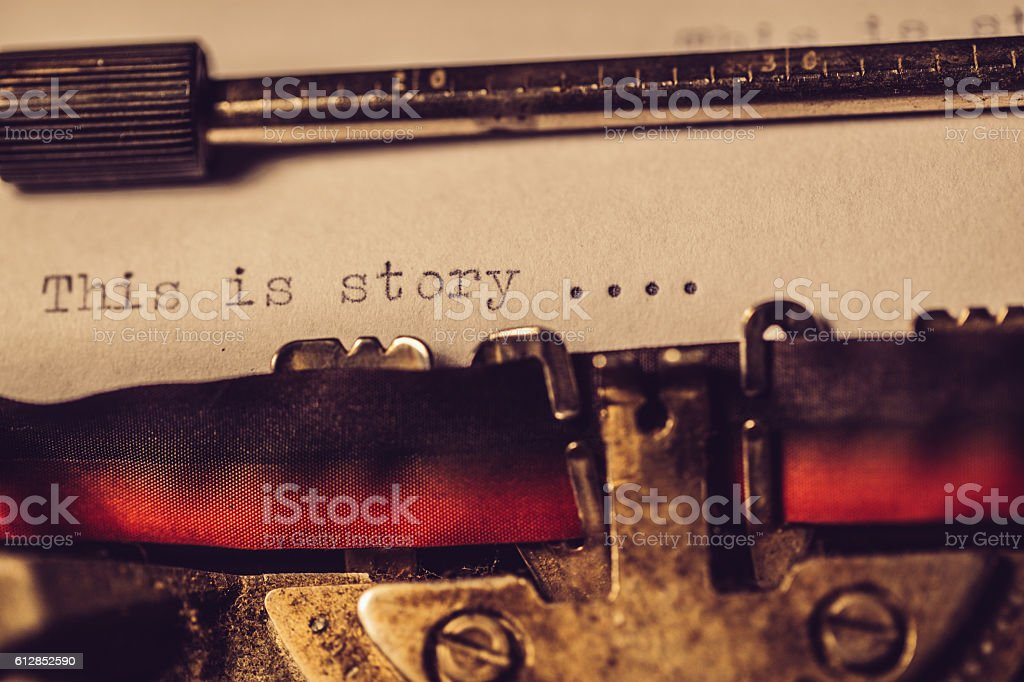 'This is story' typed using an old typewriter stock photo