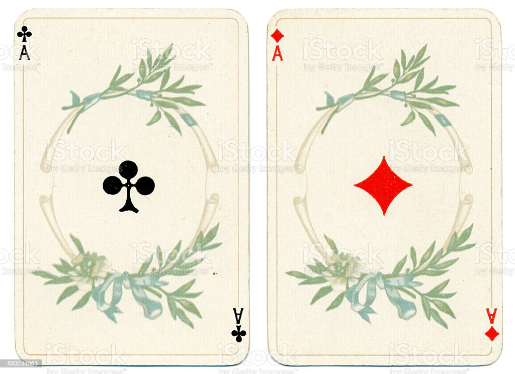 Ace of Diamonds and Clubs Dondorf Baronesse piquet 1900 stock photo