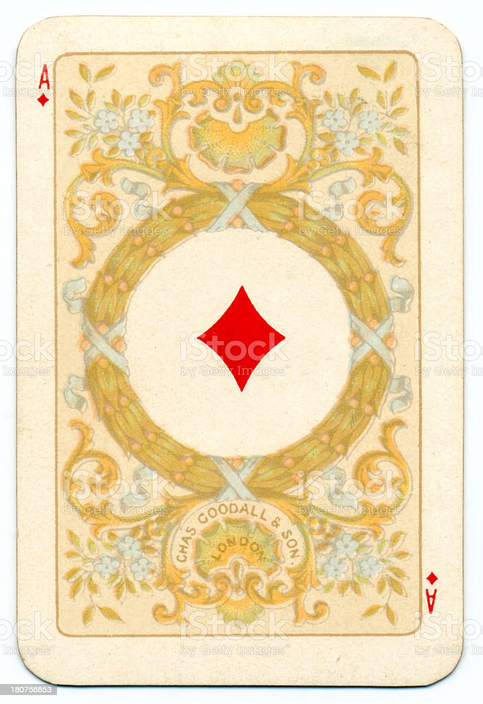 Ace of Diamonds playing card Goodall 1895 vector art illustration